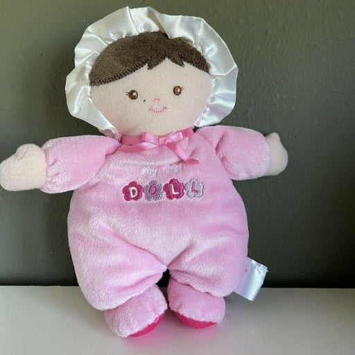 Prestige Baby First Doll Pink Brunette Brown eyes plush rattle lovey baby gift