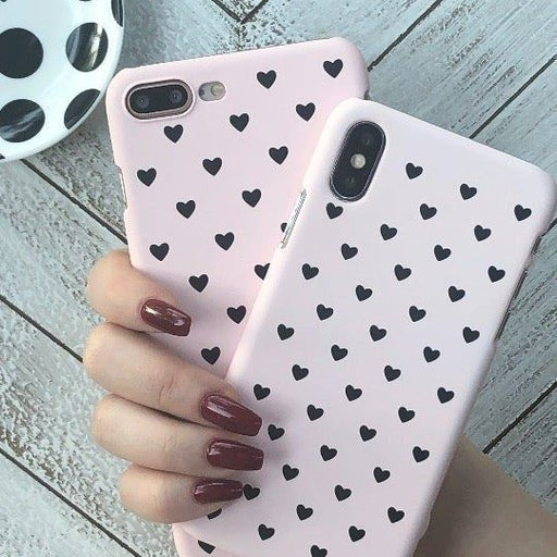 NEW iPhone X Pink Polka Hearts Case