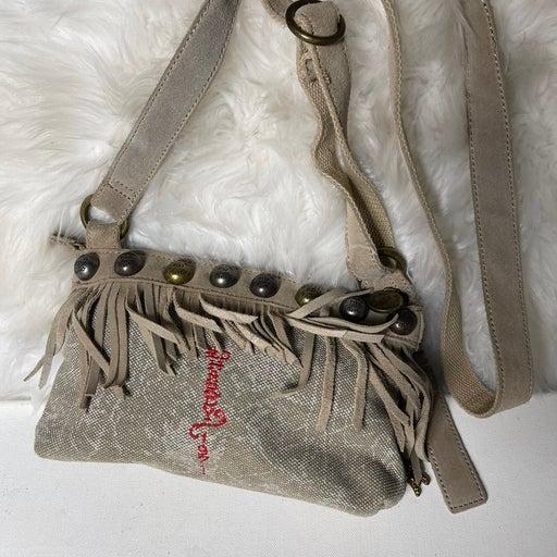 ED Hardy Khaki canvas& sude fringe crossbody bag