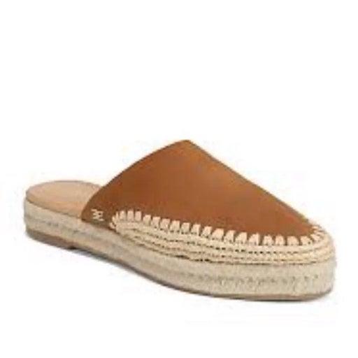 Sam Edelman Women's Austin Espadrille Mule Slides Caramel Suede Leather Size 9.
