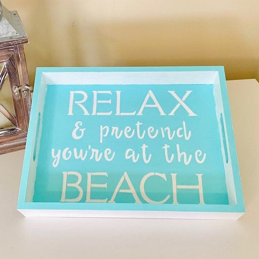 Beach House Inspired Wood Serving Tray - Table Organizer