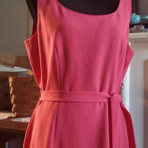 Tahari ASL Coral Pink Sleeveless Dress 1