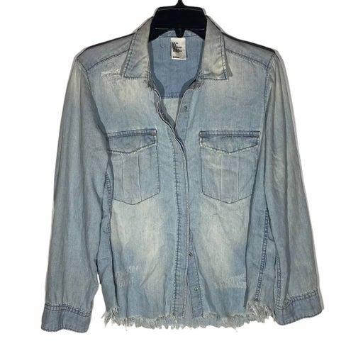 H&M Light Wash Raw Hem Denim Shirt Jacket
