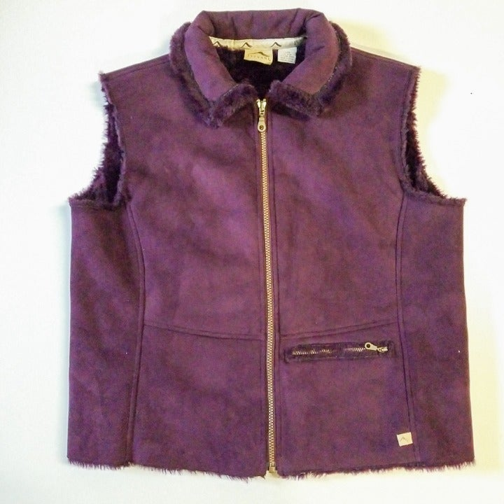 TSUNAMI Purple Faux Suede Fur Vest Large