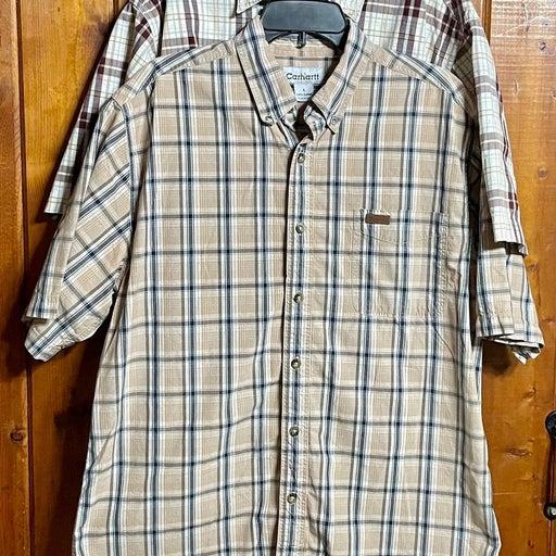 2X Vintage Carhartt Button Up Short Sleeve Plaid Shirts Sz Large
