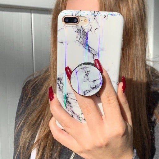 New iPhone 7/8 White Laser Marble Case