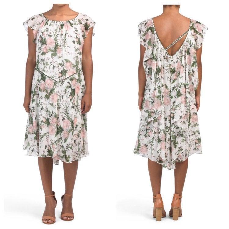 Max Studio Floral Georgette White Dress