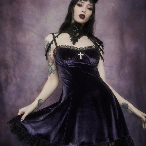 BLIND FAITH DRESS / Purple Velvet and Black Lace Dolls Kill Dress
