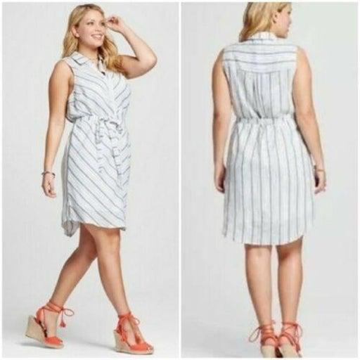 AVA & VIV Button Front Belted Shirt Dress Linen Blue Stripe Women's size 4X NWT