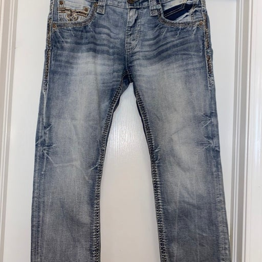 Rock Revival Pevey Slim straight destroyed distressed faded EP9892SJ2035 34 jean