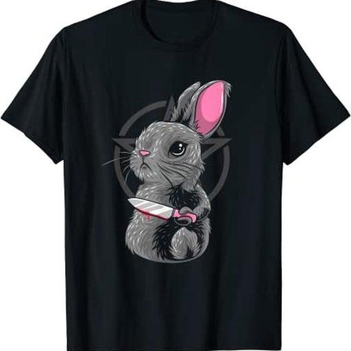 Creepy Satanic Bunny Occult Goth Pentagram Rabbit T-Shirt 4