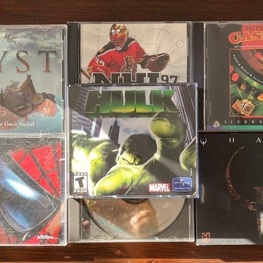 PC 7 Game Lot - Myst, Quake, Hulk, Spiderman etc
