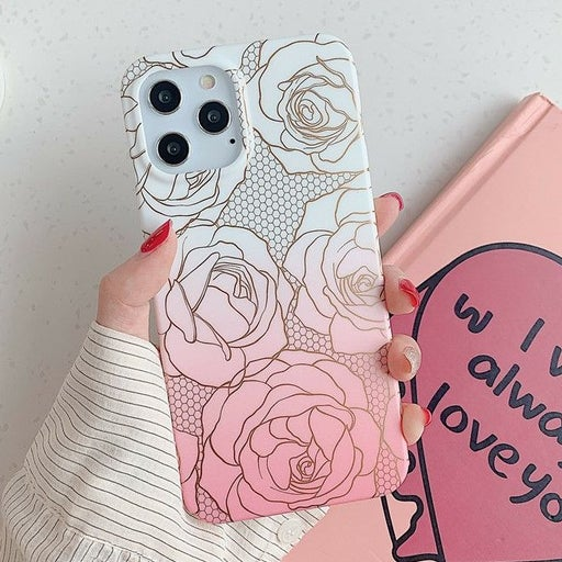 Iphone 12 Pro case Floral Rose Gold