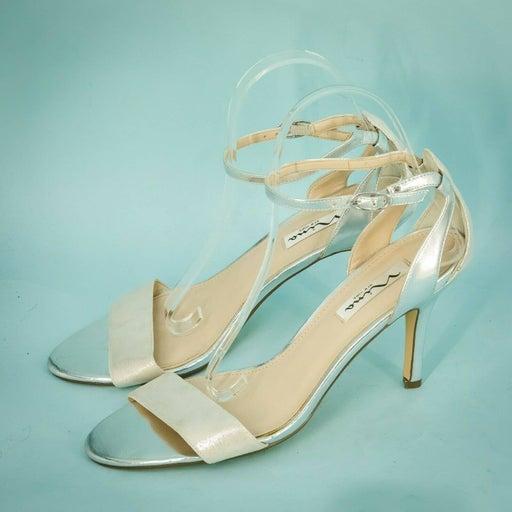 Nina New York Size 9 Silver Metallic Open Toe Ankle Strap Heels Sandals
