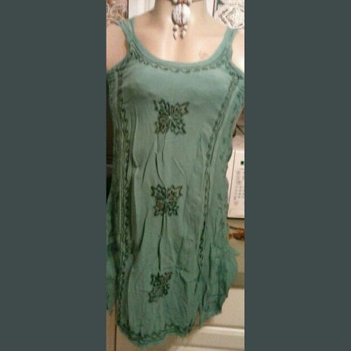 Green Embroidered Floral COVERUP