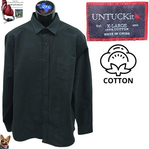 UNTUCKIT XL Flannel Sherwood Shirt Black Redular Fit Long Sleeve Cotton