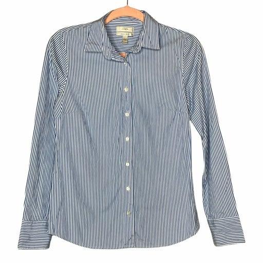 J. Crew Blue Pinstripe Stretch Perfect Button Down Shirt Women's Size XS