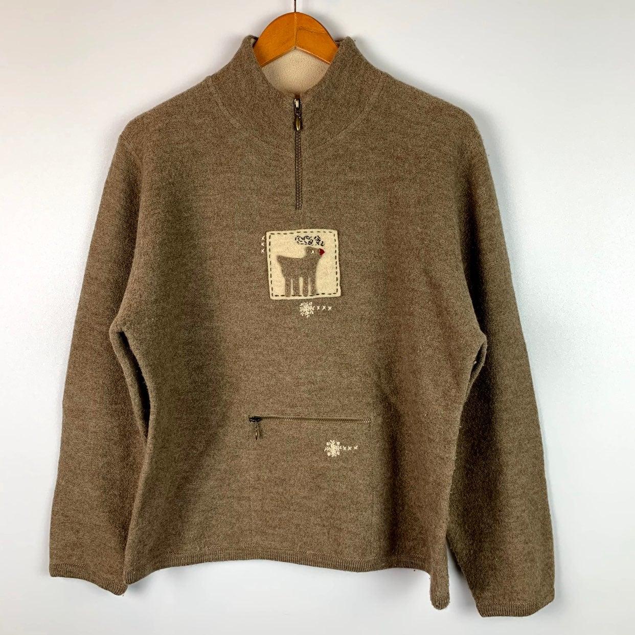 Woolrich Large 1/4 Zip Wool Sweater