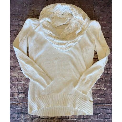 Michael Kors Women's HL Curved Hem Cowl Neck Pullover Sweater Cream Sz L EUC