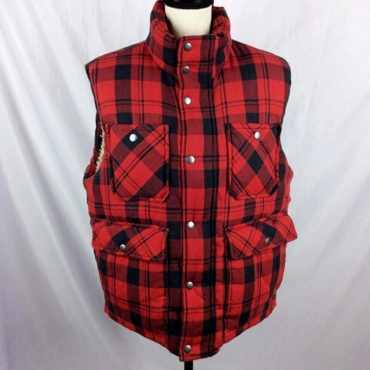 Gap Sherpa Buffalo Plaid Quilted Vest