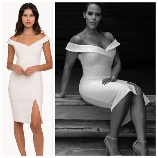 BLACK HALO Hepburn White Porcelain Sheath Dress