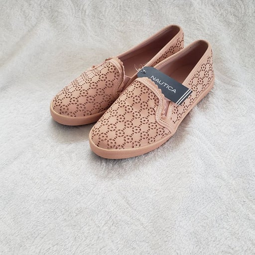 Nautica pink vegan leather lace etched s