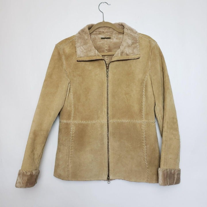 Vintage Guess Leather Suede Jacket Tan