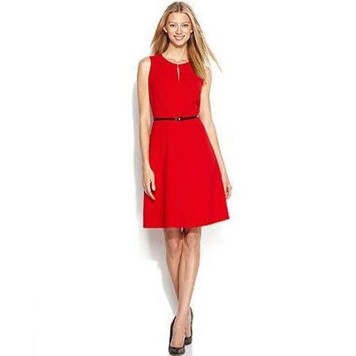 Calvin Klein Red Sleeveless Keyhole Neck Flare Dress 14