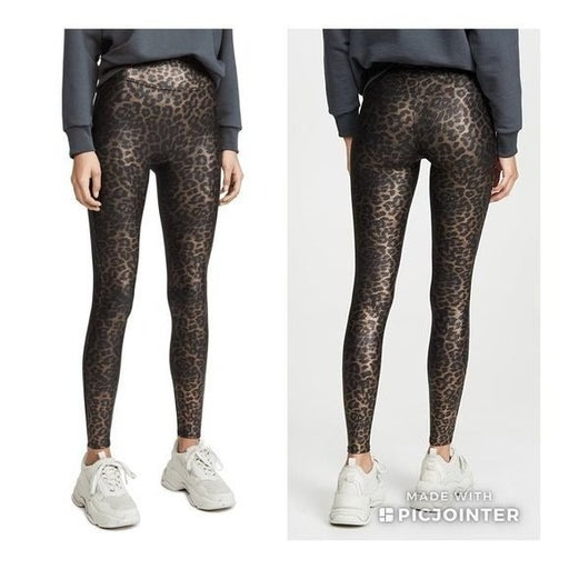Spanx Leopard Shine Faux Leather Leggings Size Small