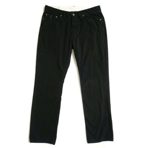 Polo Ralph Lauren Mens Straight Leg Chino Pants Size 35 x 32 Black Flat Front
