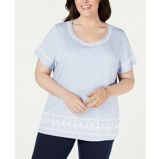 2X Karen Scott Puff Striped T-Shirt
