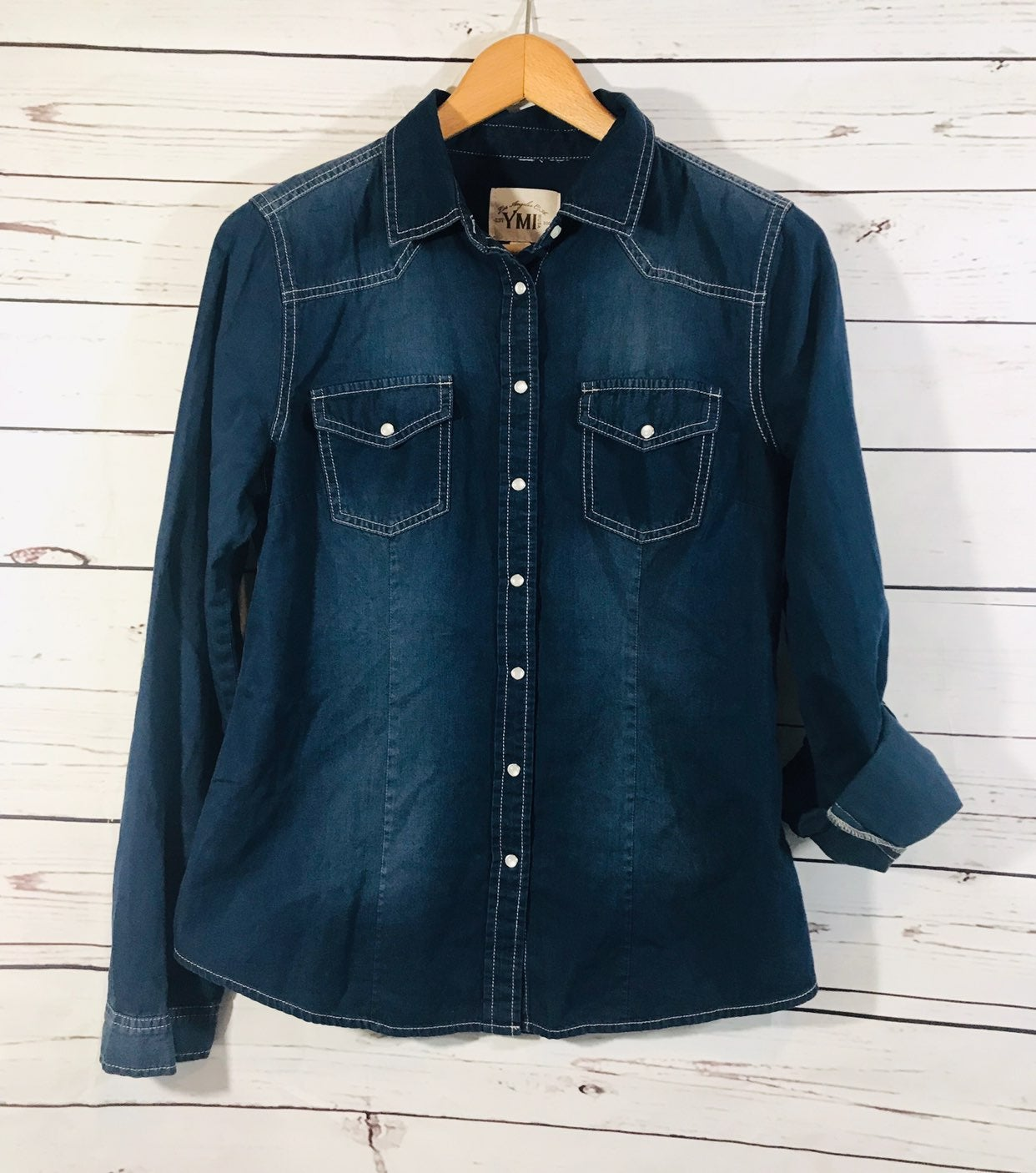 YMI Western Button Down Shirt Sz M