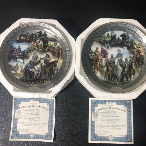 Set Of 2 Bradford Exchange Plates (The Glory In Gray & Pride Of The South)
