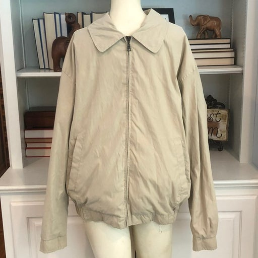 croft & Barrow ultimate stain resistant jacket full zipper front khaki Medium