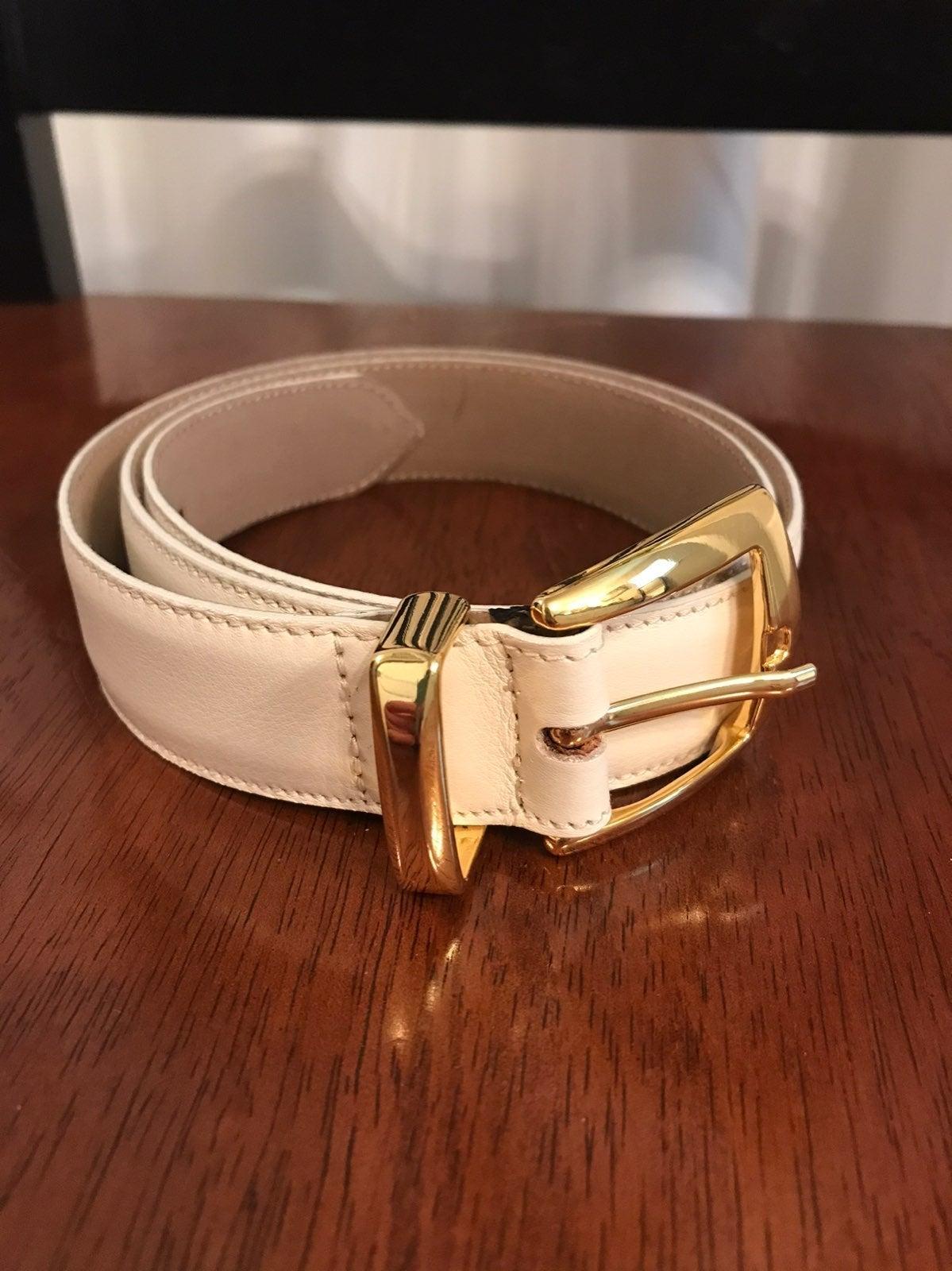 Talbots white leather belt