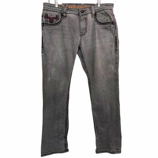 Rock Revival Men's Gray Ben Straight Contrast Stitch Flap Pockets Jeans Size 38