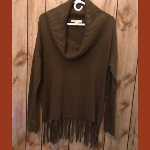 Michael Kors Cowl-Neck With Fringes Swe