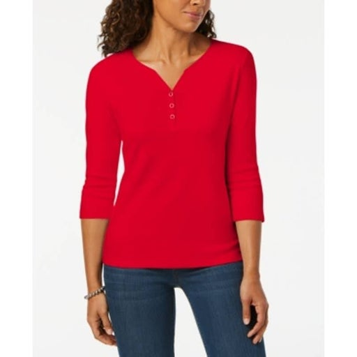 Red Amore Petite Cotton Henley Shirt Md