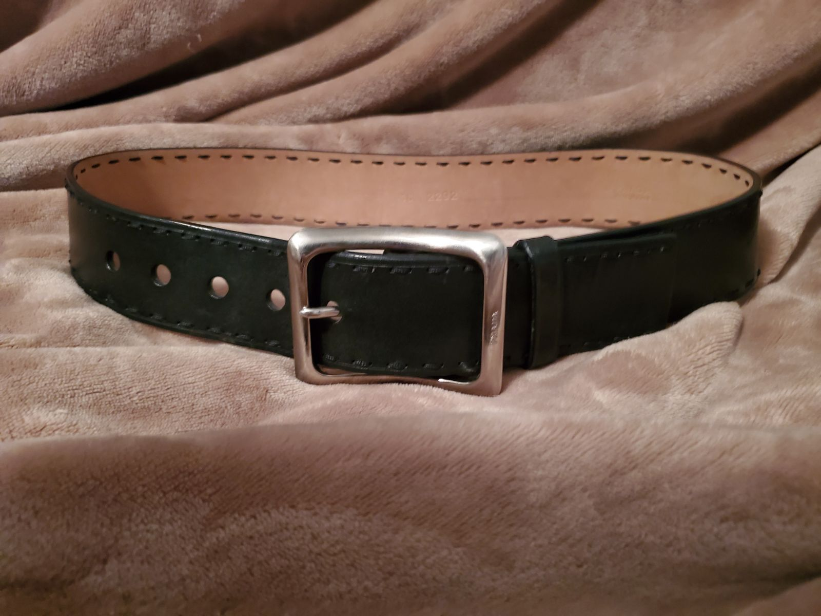 Prada designer Belt Black leather sz 30