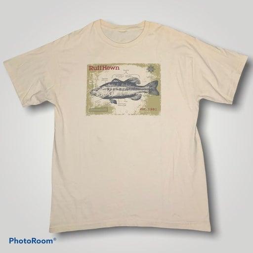 Vintage Ruff Hewn Largemouth Bass Graphic Fishing Tee Shirt Men's Size Large