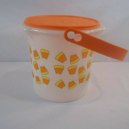 New Tupperware Halloween Candy Corn Treat Bucket with Lid and Handle 5L