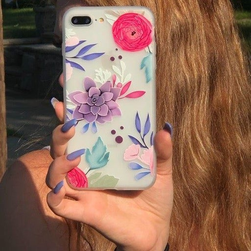 NEW iPhone 7P/8P Frosted Floral Case.