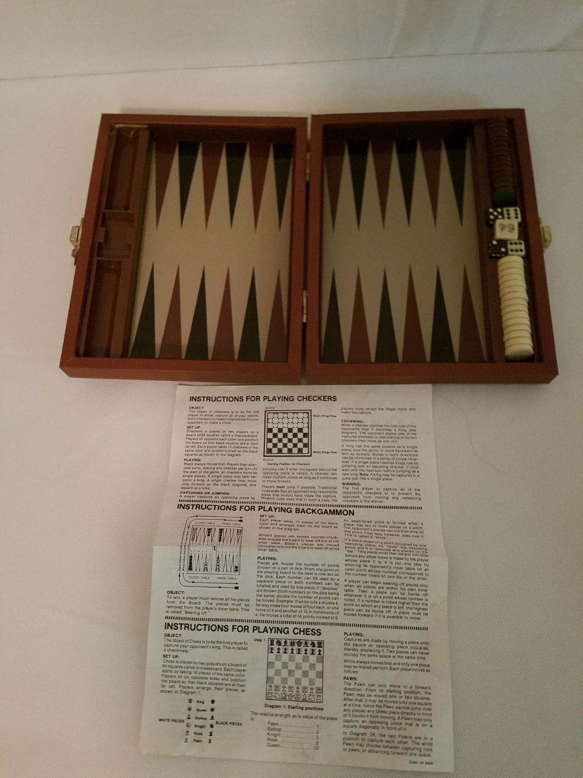 Travel Backgammon Board Game