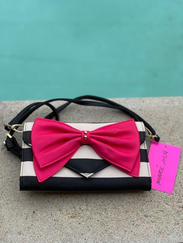 Betsey Johnson Crossbody Black Whi Pink