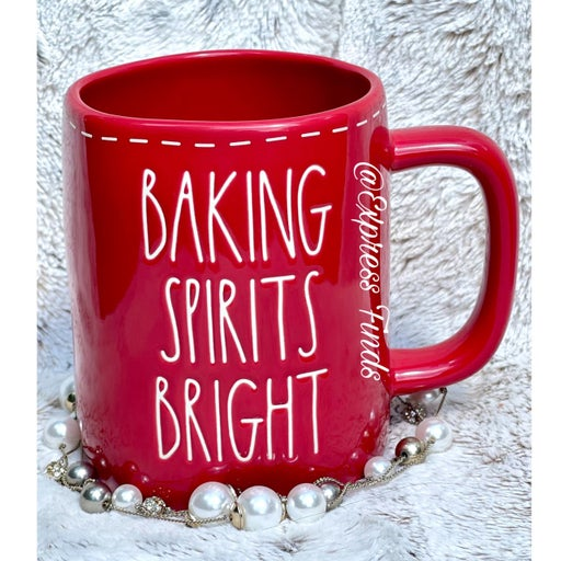 Rae Dunn Baking Spirts Bright Red Christmas Coffee Mug HTF
