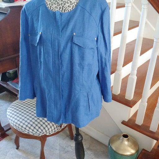 Chicos Women's Blue Water Color Zip Up 3