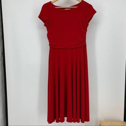 Kim Rogers 8 Red Short Sleeve Dress Midi