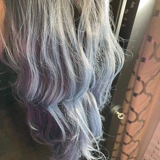 Extra long lace fromt wig. Icy blue with darker roots