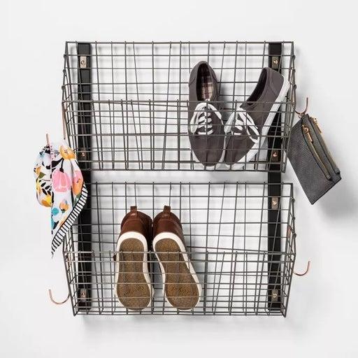Threshold Shoe Rack Wall Mount Basket Copper Hooks