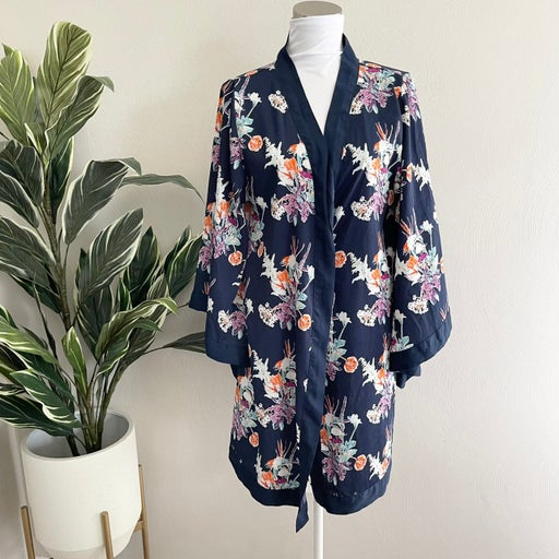 World market - Indigo blue paradise floral robe